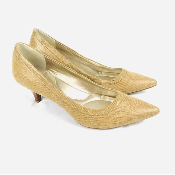 Bandolino Shoes - Bandolino pointed toe beige comfort kitten heels